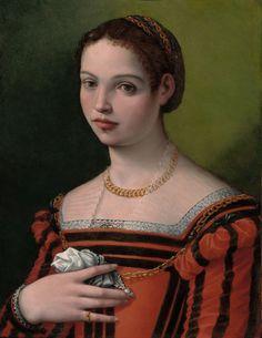 """Portrait of a Lady"", 1550-60, by Michele Tosini (a.k.a. Michele di Ridolfo del Ghirlandaio) (Italian, 1503–1577)"