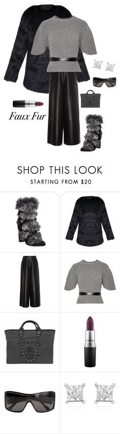 """""""Faux Fur Warmth"""" by kotnourka ❤ liked on Polyvore featuring Charles by Charles David, Lanvin, RED Valentino, Chanel, MAC Cosmetics, Louis Vuitton and Effy Jewelry"""