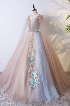 Champagne tulle V neck long evening dress, long lace appliqués senior prom dress