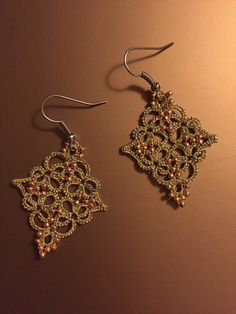 Set of 2 tatting lace earrings and necklace pendant by TheKimAndI