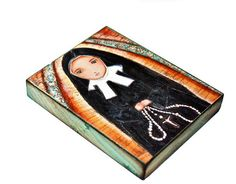 Saint Bernadette Nun -  Giclee print mounted on Wood (4 x 5 inches) Folk Art  by FLOR LARIOS, $18.00