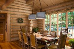 This is such a cute idea for the dinning room there is washtub chandeliers and the chairs  are hickory beautiful