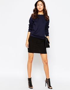 Pieces+Black+Jersey+Mini+Skirt