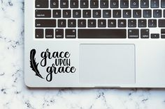 Vinyl Decal Grace Upon Grace with Feather Custom