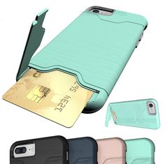 iPhone 8 Plus, 8, 7 Plus, 7, 6/6S Plus, 6/6S - Genius Kickstand Card Slot Case in Assorted Colors