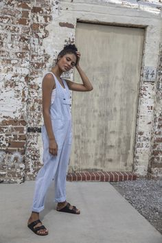 Summer and jumpsuits make for the perfect match. Keep it cool in our Pipes Jumpsuit that is designed with a super lightweight blend of cotton and linen. It features trendy vertical stripes that will flatter every figure. Elevate your outfit with accessories for a video conference approved look or keep it casual with a cute pair of sandals. No matter if you're lounging at home or walking the block, you will not miss out on comfort wearing this jumpsuit. Jeans Price, Lee Jeans, Vertical Stripes, Denim Fabric, European Fashion, Shirt Shop, Spring Style, Jumpsuits For Women