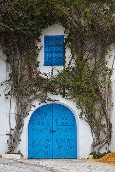 blue door in Sidi Bou Said, Tunisia
