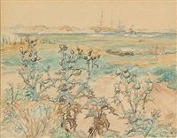 Landscape with ships on the sea, in the foreground thistles by Johannes Larsen