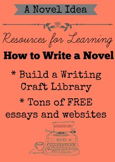 Here's a list of books, websites, essays, and other resources for the aspiring writer. If you want to learn how to write a novel--these are good places to start. Keep in mind that nothing beats taking a class or workshop with real, live instructors. Fiction Writing, Writing Advice, Writing Resources, Writing Help, Writing Skills, Writing A Book, Writers Write, Writing Process, Writing Inspiration