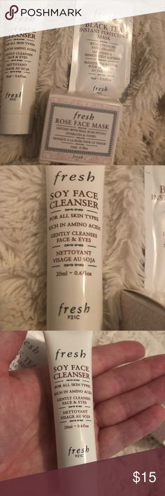 FRESH FACIAL BUNDLE FROM SEPHORA These are y'all extremely popular items because of the ability of the products to be made with ingredients such as soy, making sure your sensitive skin is taken care of but cleanses well.   Fresh masks retail for very high prices, so this is the deal for you if you want to try them all first OR if you just want a treat for your face occasionally!!   Please see each item I photographed in my hand to understand sizes. Sephora Makeup