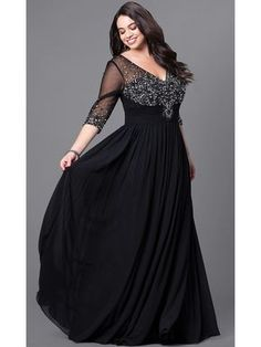 50f3a6922c6 A-Line Length Sleeves V-Neck Beaded Long Black Plus Size Prom Evening  Dresses 99502017
