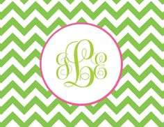Personalized Monogram Chevron Folded Note Cards (A2) on Etsy, $10.50
