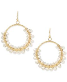 Inc International Concepts Gold-Tone Imitation Pearl Drop Hoop Earrings, Only at Macy's