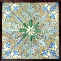 c.1905 Framed Heixen Belgium Belgium Art Nouveau Four Tile Pattern #2