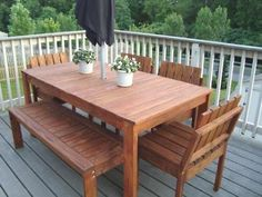 Simple Outdoor Dining Table - plans by Ana White - her site is filled with detailed furniture plans! Pallet Patio Furniture, Diy Furniture Plans, Garden Furniture, Building Furniture, Wicker Furniture, Furniture Stores, Diy Patio Furniture Cheap, Pallet Chair, Homemade Furniture