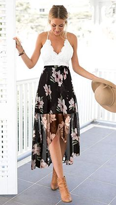 Blooming Jelly Women's Deep V Neck Sleeveless Summer Asymmetrical Chiffon Floral Maxi Dress / women floral summer dresses / Chic Fashion for Women / Floral Chiffon Maxi Dress, Casual Dresses For Women, Clothes For Women, Side Slit Dress, Bohemian Style Clothing, Best Summer Dresses, Latest Fashion For Women, Formal, Fashion Outfits
