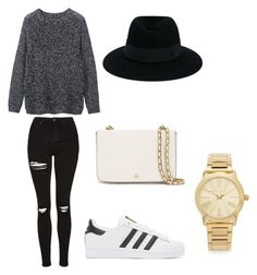"""Untitled #1"" by julia-m-munger ❤ liked on Polyvore featuring Toast, Topshop, adidas Originals, Tory Burch, Maison Michel and Michael Kors"