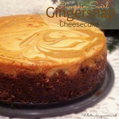 Pumpkin Swirl Gingersnap Cheesecake Recipe | whatscookingamerica.net  #pumpkin #ginger #cheesecake #thanksgiving