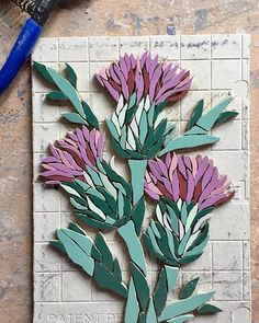 #wip #workinprogress #working #thistle #mosaic #scotland #scotlandflowers #scottishthistle #inmemory #plaque #comemorative #bespoke #commission #art