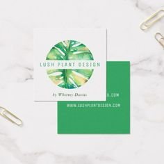 MODERN MONSTERA LEAF LOGO botanical life green Square Business Card - yoga health design namaste mind body spirit