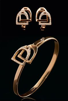 Rose Gold and Diamond Earrings and Bracelet by Ralph Lauren