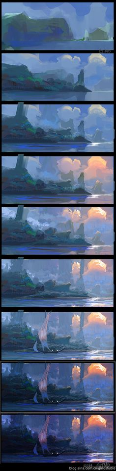 Really cool landscape art - step by step.