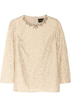 Needle & Thread | Crystal-embellished guipure lace top