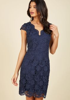 Elegant Moments Lace Dress in Navy | Mod Retro Vintage Dresses | ModCloth.com  When reflecting on your recent outing in this navy sheath dress, you recall every second feeling completely sophisticated. Cap sleeves, a scalloped neckline, and a stunning overlay of crocheted lace detail this beautiful piece, just as they touch your memories with refined fondness!