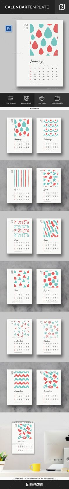 Buy 2019 Calendar Template by Brainvasion on GraphicRiver. Minimal and creative calendar template. Features 12 Psd files paper size Print Ready With Bleeds Work with L. Office Calendar, Calendar 2018, Desk Calendars, Creative Calendar, Anime Artwork, Paper Size, Decoration, Illustrations, Calendar Templates