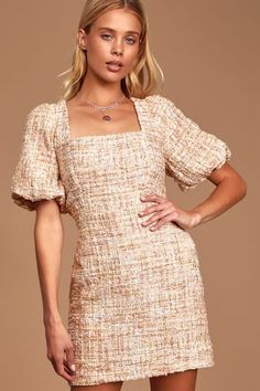 We are totally in to love with the Lulus First Thought Pink Multi Tweed Puff Sleeve Bodycon Dress! Puff sleeve mini dress with a square neckline. Office Outfits Women Casual, Casual Dresses For Women, Dresses For Work, Summer Dresses, Winter Dresses, Pretty Dresses, Sexy Dresses, Elegant Dresses, Formal Dresses
