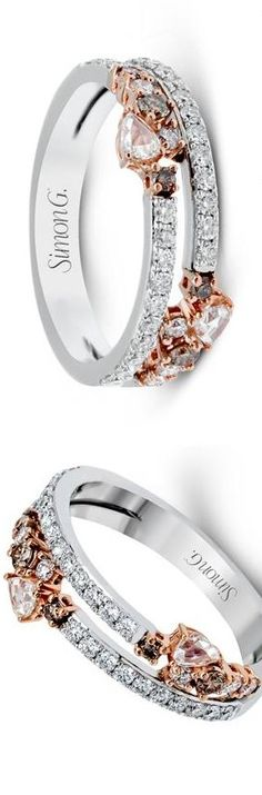 white and rose gold diamond rings|