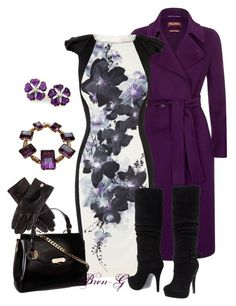 A fashion look from August 2013 featuring sleeved dresses, double breasted coat and black boots. Browse and shop related looks. Purple Outfits, Dressy Outfits, Fashion Beauty, Fashion Looks, Womens Fashion, Dress For Success, Karen Millen, Knee High Boots, What To Wear