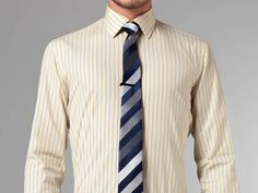 Thomas Mason- Indigo, White & Yellow Stripe Shirt Mens Attire, Yellow Stripes, Well Dressed, Indigo, Suit Jacket, Suits, Jackets, Dresses, Fashion