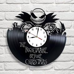 Jack Skellington Clock Sally Nightmare Before Christmas Vinyl Record Wall. Jack Skellington Clock Sally Nightmare Before Christmas Vinyl Record Wall Gifts. The Nightmare Before Christmas Jack Skellington Sally Vinyl Record Wall. Vinyl Record Clock, Record Art, Vinyl Records, Record Crafts, Christmas Vinyl, Xmas, Nightmare Before Christmas 2, Halloween Decorations, Christmas Decorations