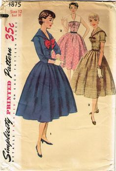 1950s Misses Simplicity Sewing Pattern 4875 Uncut Misses Sailor Dress Sz 12 30B