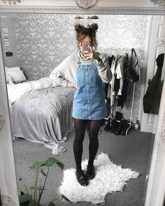 overall dress outfit denim winter Fashion Guys, Grunge Fashion, 90s Fashion, Korean Fashion, Fashion Outfits, Style Fashion, Fashion Trends, Edgy Outfits, Mode Outfits