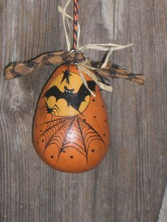 Halloween Vintage Style Dried Gourd Ornament Bat by TheRootCellar