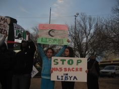 """Stop the Massacre in Libya"" (Photo: Eli Bell)"