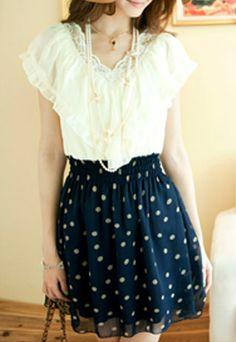 $19.99 USDRuffle Short Sleeve Polka Dot Lace Neckline High