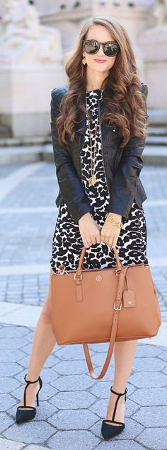 Black And White Printed Dress Outfit Idea by Southern Curls and pearls