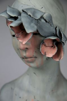 Gosia, a Poland-born, Toronto-based sculptor, creates feminine figures with touches of the surreal, whether reflecting the natural world or expressions that extend from inside of the characters the… Pottery Sculpture, Sculpture Clay, Ceramic Sculpture Figurative, Bronze Sculpture, Decay Art, Growth And Decay, Sculptures Céramiques, Maquillage Halloween, Ap Art