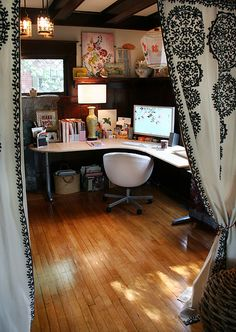 I like the curtains that separate the office from another room. I want to do this in my old SF victorian.