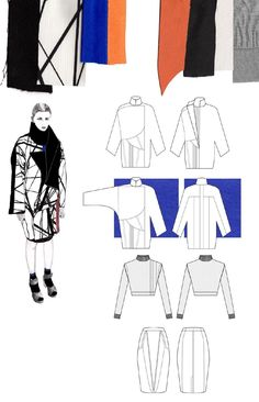 Fashion Sketchbook - fashion design with geometric prints; fashion illustration; fashion portfolio // Gina Atkinson