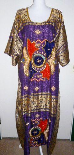 Vintage Ethnic Dress BEADED Sequins SILK Kaftan Caftan Dashiki Abaya Tribal 2XL #Unbranded #AsymmetricalHem #Casual