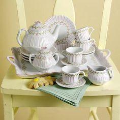 Childrens Rose Pinstripe Porcelain Tea Set