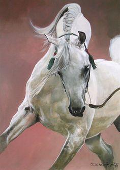 Power and Grace Limited Edition Arabian Stallion Print by Equestrian Artist Judi Kent Pyrah