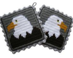 Bald Eagle Pot Holders. Gray, crochet potholders with American eagles.