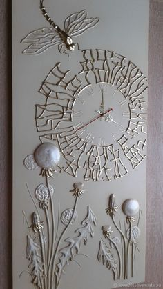 Handmade watch for the home. Order Watch b . - Abstrakte kunst - New Craft Plaster Crafts, Plaster Art, Texture Art, Texture Painting, Hot Glue Art, Glue Gun Crafts, Clock Art, Diy Clock, Art Mural