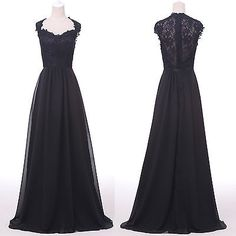 Stock Encaje Negro Con Apliques bola vestido de noche formal Prom fiesta vestido largo 2 ~ 16