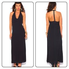 Black T back evening maxi dress Feminine sexy and trendy black maxi dress strappy T back deep V neckline Dresses Maxi